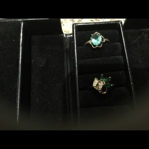 2 Green & Teal Gold Rings